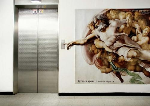 mídia em elevador Deus