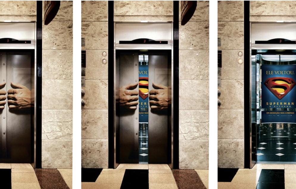 mídia em elevador Superman